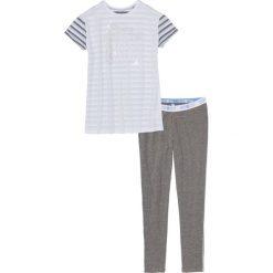 Piżamy damskie: Piżama z legginsami bonprix biało-szary melanż – pudrowy niebieski w paski