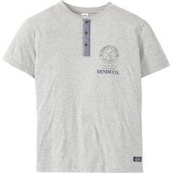 T-shirt z plisą guzikową Regular Fit bonprix jasnoszary melanż. Szare t-shirty męskie z nadrukiem bonprix, l. Za 44,99 zł.