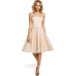 DAISY Wieczorowa sukienka z tiulowym dekoltem - beżowa. Brązowe sukienki koktajlowe Moe, z tiulu, dopasowane. Za 169,00 zł.