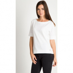 Strukturalna bluzka ecru QUIOSQUE. Szare bluzki longsleeves marki QUIOSQUE, z dzianiny, klasyczne. W wyprzedaży za 99,99 zł.
