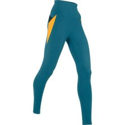 Legginsy sportowe, długie LEVEL1 bonprix niebieskozielono-miodowy. Niebieskie legginsy damskie do fitnessu bonprix. Za 79,99 zł.