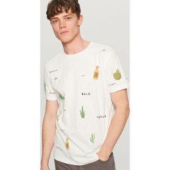 T-shirty męskie: T-shirt z meksykańskim nadrukiem – Kremowy