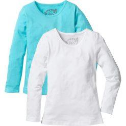 Koszulka z długim rękawem (2 szt.) bonprix morski + biały. Niebieskie bluzki dziewczęce marki PARADISE, na lato, z nadrukiem, z bawełny, z krótkim rękawem. Za 39,98 zł.