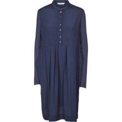 Długie sukienki: Szeroka sukienka z długim rękawem, koszulowy kołnierz