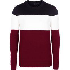 Swetry klasyczne męskie: Sweter w kolorze bordowo-biało-czarnym