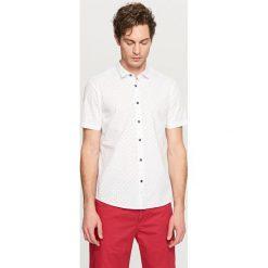 Koszula z mikroprintem slim fit - Biały. Czarne koszule męskie slim marki Reserved. Za 69,99 zł.