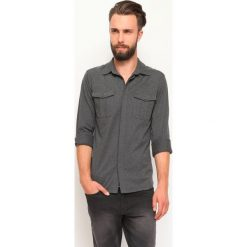 KOSZULA DŁUGI RĘKAW MĘSKA SLIM FIT. Szare koszule męskie slim marki Top Secret, m, z klasycznym kołnierzykiem, z długim rękawem. Za 44,99 zł.