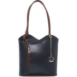 Torebki klasyczne damskie: Skórzana torebka w kolorze granatowym – 28 x 55 x 9 cm