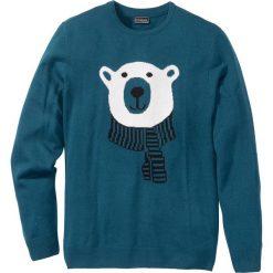Swetry męskie: Sweter Slim Fit bonprix niebieskozielony morski