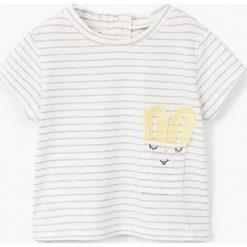 Mango Kids - Top dziecięcy Solete 62-80 cm. Szare bluzki dziewczęce bawełniane Mango Kids, z nadrukiem, z okrągłym kołnierzem, z krótkim rękawem. W wyprzedaży za 29,90 zł.