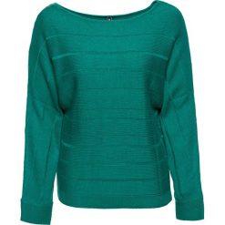 Swetry klasyczne damskie: Sweter z dekoracyjnym zamkiem bonprix ciemnoszmaragdowy