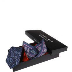 Zestaw Krawat plus Poszetka. Czarne krawaty męskie LANCERTO, paisley, z jedwabiu, biznesowe. Za 159,80 zł.