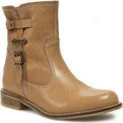 Botki ŁUKASZ - 5245 Beżowy. Brązowe buty zimowe damskie Łukasz, ze skóry, na obcasie. W wyprzedaży za 299,00 zł.