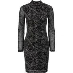Sukienki: Sukienka shirtowa w brokatowy wzór bonprix czarno-srebrny wzorzysty