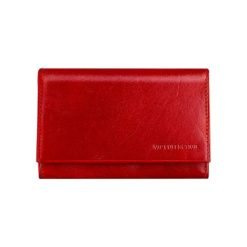 Portfele damskie: Skórzany portfel w kolorze czerwonym – (S)14 x (W)10 cm