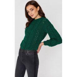 Swetry klasyczne damskie: MANGO Ażurowy sweter z warkoczowym splotem - Green