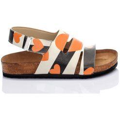 Rzymianki damskie: Sandały w kolorze beżowo-pomarańczowo-czarnym