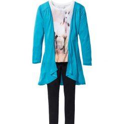 Shirt, kardigan + legginsy (3 części) bonprix ciemnoturkusowo-biel wełny - czarny. Niebieskie legginsy dziewczęce marki bonprix. Za 74,99 zł.
