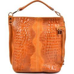 Torebki klasyczne damskie: Skórzana torebka w kolorze koniaku – (S)33 x (W)40 x (G)16 cm