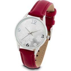 Zegarek na rękę bonprix ciemnoczerwono-srebrny kolor. Czerwone zegarki damskie bonprix, srebrne. Za 74,99 zł.