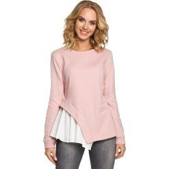 Bluzki, topy, tuniki: Dwuwarstwowa bluzka z asymetrią - pudrowa