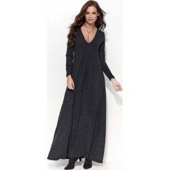 Grafitowa Sukienka Maxi z Dekoltem w Serek. Szare długie sukienki marki bonprix, melanż, z dresówki, z kapturem, z długim rękawem. Za 114,90 zł.