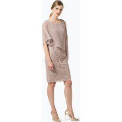 Swing - Damska sukienka wieczorowa, beżowy. Brązowe sukienki balowe Swing, w koronkowe wzory, z koronki. Za 649,95 zł.