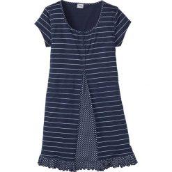 Bielizna nocna: Koszula nocna bonprix ciemnoniebiesko-biały z nadrukiem