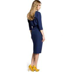 ROSETTA Sukienka odcinana w pasie z zakładkami - granatowa. Niebieskie sukienki na komunię Moe, dopasowane. Za 179,90 zł.