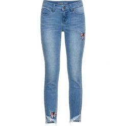 Dżinsy Skinny z haftem, w krótszej długości bonprix niebieski bleached. Niebieskie boyfriendy damskie bonprix. Za 129,99 zł.