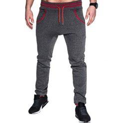 SPODNIE MĘSKIE DRESOWE P428 - GRAFITOWE. Szare spodnie dresowe męskie Ombre Clothing, z bawełny. Za 39,00 zł.