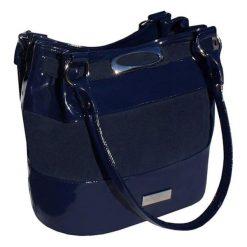 Torebki klasyczne damskie: Skórzana torebka w kolorze granatowym – (S)35 x (W)28 x (G)18 cm
