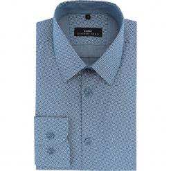 Koszula MARCO 16-07-10-K. Niebieskie koszule męskie na spinki marki bonprix, m, z nadrukiem, z klasycznym kołnierzykiem, z długim rękawem. Za 259,00 zł.
