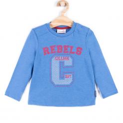Koszulka. Niebieskie t-shirty chłopięce z długim rękawem REBELS, z aplikacjami, z bawełny. Za 29,90 zł.