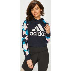 Adidas Performance - Bluza. Czarne bluzy z kapturem damskie adidas Performance, l, z nadrukiem, z bawełny. Za 249,90 zł.