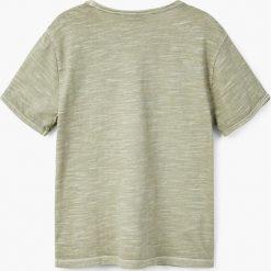 Mango Kids - T-shirt dziecięcy Benjamin 104-164 cm. Szare t-shirty chłopięce marki bonprix, m, melanż, z dzianiny, z kontrastowym kołnierzykiem. Za 19,90 zł.