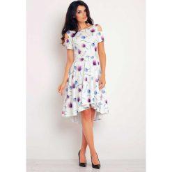 Sukienki: Asymetryczna Fioletowa Sukienka z Wyciętymi Ramionami