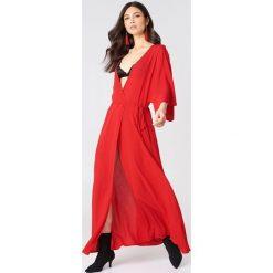 NA-KD Boho Sukienka-płaszcz - Red. Czerwone płaszcze damskie pastelowe NA-KD Boho, z wiskozy, boho. Za 100,95 zł.