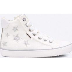 Geox - Trampki dziecięce. Szare buty sportowe dziewczęce Geox, z materiału, z okrągłym noskiem. W wyprzedaży za 219,90 zł.