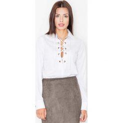 Bielizna damska: Biała Sznurowana Koszula z Długim Rękawem