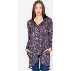 Bluzy rozpinane damskie: Czarna Bluza na Suwak w Kwiaty z Kapturem