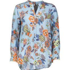 Topy sportowe damskie: Bluzka – Comfort fit – w kolorze błękitnym ze wzorem