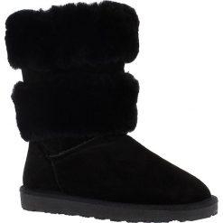 """Buty zimowe damskie: Skórzane kozaki """"Mara"""" w kolorze czarnym"""
