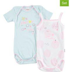 Body niemowlęce: Body (2 szt.) w kolorze błękitnym i jasnoróżowo-białym