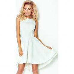 66-7 gruba lacosta - ekskluzywna sukienka z dłuższym tyłem - ecru. Szare sukienki z falbanami marki numoco, l. Za 89,00 zł.