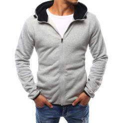 Bluzy męskie: Bluza męska z kapturem rozpinana szara (bx2404)