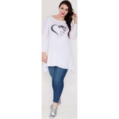b24de9b1be Asymetryczna tunika aplikacje MODA XXL. Białe bluzki damskie Moda Size Plus  Iwanek