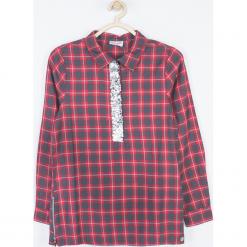 Bluzka. Fioletowe bluzki dziewczęce bawełniane marki bonprix, z nadrukiem. Za 79,90 zł.