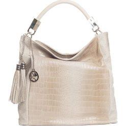 Torebki klasyczne damskie: Skórzana torebka w kolorze beżowym – 44 x 55 x 15 cm