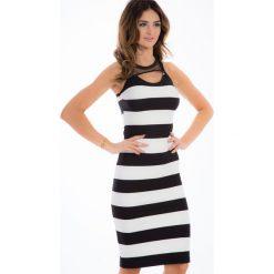 Czarna sukienka w pasy 5284. Czarne sukienki marki Fasardi, m, z dresówki. Za 63,20 zł.